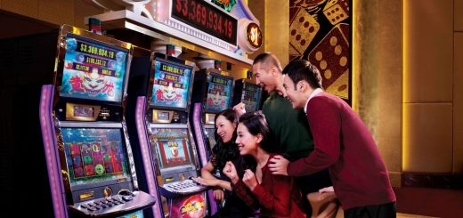 family playing slots